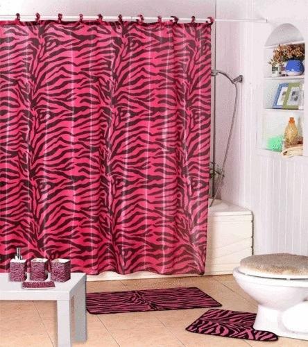 Pink and black zebra bathroom