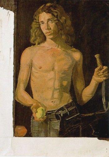 """Dominic as """"Summer"""" (unfinished), Villeneuve-les-Sablons, 1975 by Yannis Tsarouchis."""