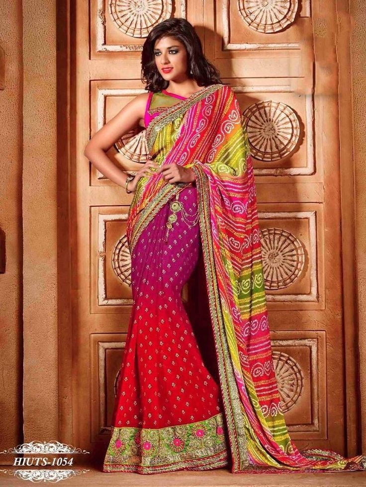 PAKISTANI GEORGETTE & CHIFFON BANDHANI SAREE INDIAN EID WEDDING BRIDAL SARI US35 #Handmade #SareeWithUnstitchBlousePiece