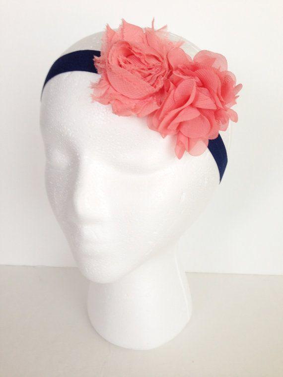 Coral & Navy Blue Headband / Coral Headbands / Wedding Flower Girl Headbands / Coral, Navy Blue / Shabby Chic Headbands / Easter Headbands on Etsy, $7.00