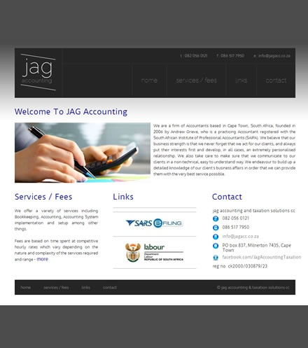 JAG    JAG accounting and taxation is a static but classy website. An example that there is no need to spend exorbitant costs on a website but still achieve an excellent online presence.