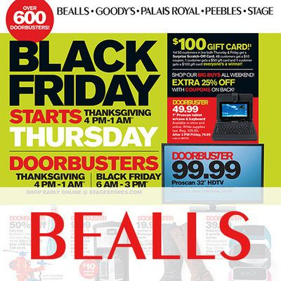 View the Bealls Black Friday 2014 Ad with Bealls (Stage Stores) deals and sales