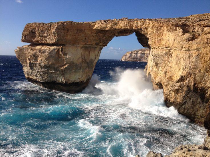 Rough sea at the Azure Window, Dwejra, Gozo, Malta