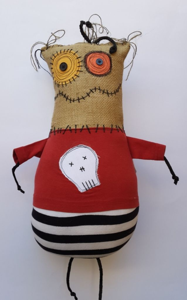 """Made in South Africa: Beauregard the Bee by djiblets; Beuregard the bee is a stuffed animal, soft toy.  This """"Djiblet"""" measures approximately 16 inches (42 cm) long and 8 inches (21 cm) wide. He is created from new and recycled buttons and fabrics and is stuffed with anti-bacterial, non-allergenic polyester hollow fiber."""