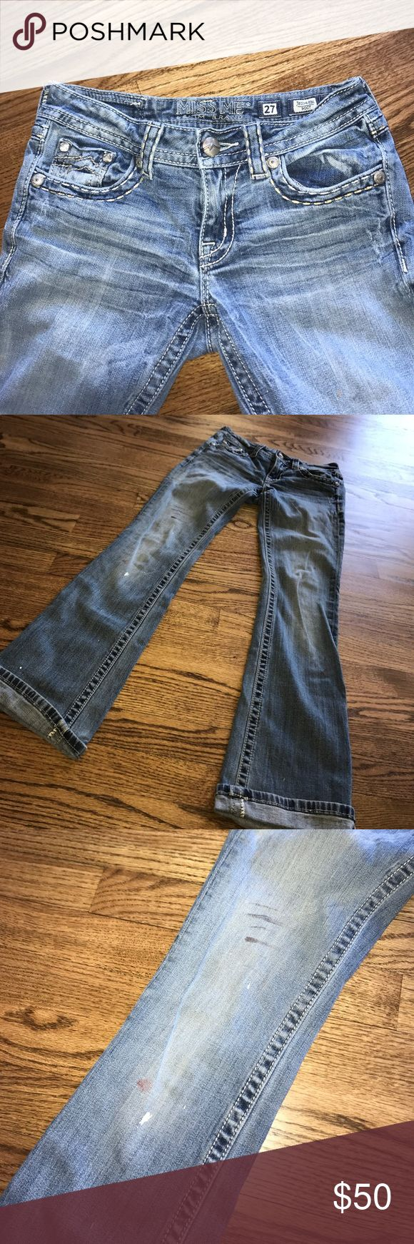 Distressed Miss Me jeans Used, has paint stains on front. Perfect for a distressed look. Not missing any jewels or buttons! Size 27. Miss Me brand Miss Me Jeans Boot Cut
