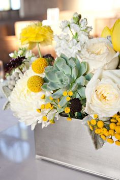 Modern Wedding | Whimsical Wedding | On SMP: http://stylemepretty.com/2013/06/27/los-angeles-wedding-from-paperwhites-photography | Paperwhites Photography | Succulent + Billy Ball Centerpiece