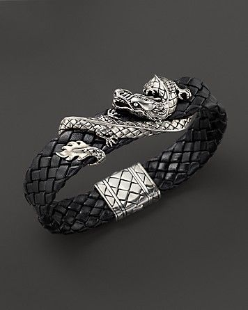 John Hardy Men's Naga Sterling Silver Dragon Woven Black Leather Bracelet - Bracelets - Shop by Style - Fine Jewelry - Bloomingdale's