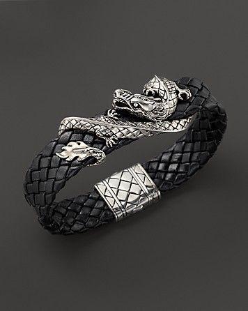 John Hardy Men's Naga Sterling Silver Dragon Woven Black Leather Bracelet - Mustn't forget the Men!x