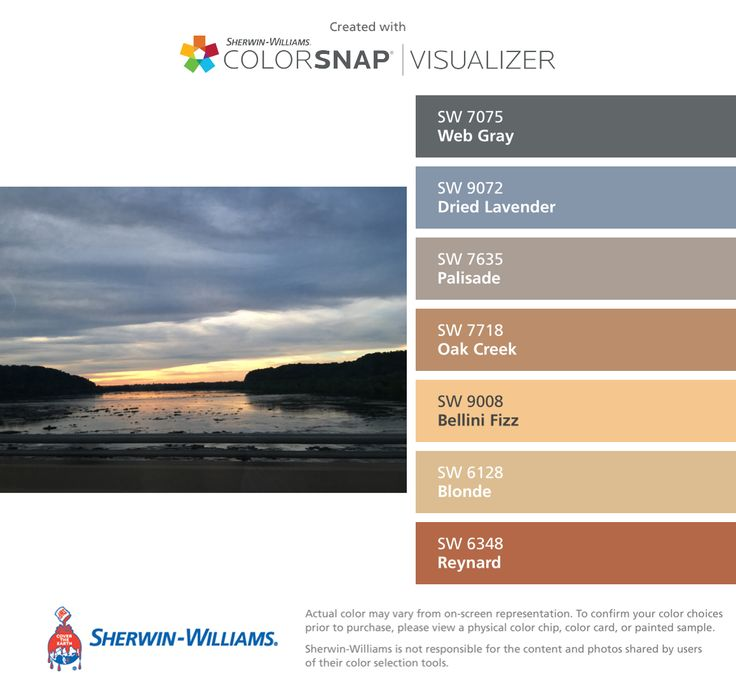 I found these colors with ColorSnap® Visualizer for iPhone by Sherwin-Williams: Web Gray (SW 7075), Dried Lavender (SW 9072), Palisade (SW 7635), Oak Creek (SW 7718), Bellini Fizz (SW 9008), Blonde (SW 6128), Reynard (SW 6348).