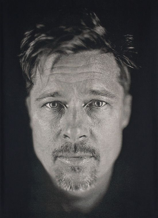 Chuck Close - Brad Pitt portrait *FYI Chuck Close is on exhibit at the Oklahoma City Museum of Art! 1/11/2014