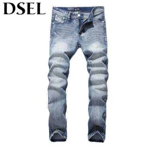 Italian Style Fashion Men Jeans Light Blue Denim Stripe Jeans Mens Pants DSEL