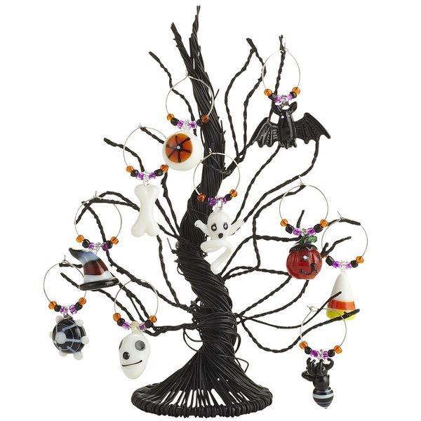 Adorn and help identify wine glasses with the Halloween Wine Charm Tree Set