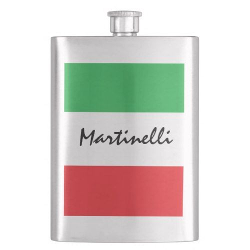 Italian Flag Green White Red Tricolore Hip Flask