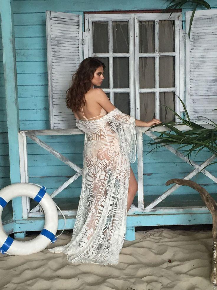 Купить %Накидка Тропический лес - белый, пляжная накидка, пляж, пляжная мода, пляжный халат