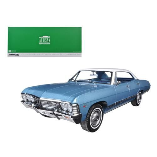1967 Chevrolet Impala Sport Sedan 4 Doors Nantucket Blue with White Top 1/18 Diecast Model Car by Greenlight