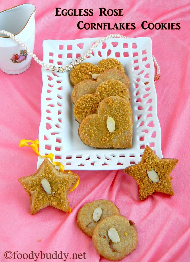 Eggless Rose Cornflakes Cookies. No butter cookies, great evening snack for kids and adults.