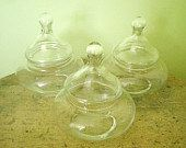 3 Vintage Glass Bubble Shaped Apothecary  Jars Wedding Candy