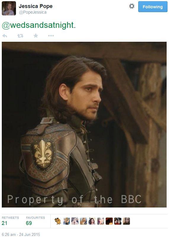 The Musketeers - Series III BtS filming via Jessica Pope's Twitter (D'Artagnan)
