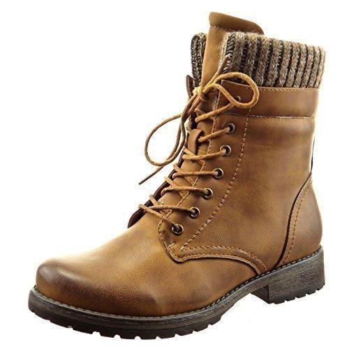 Oferta: 35.5€. Comprar Ofertas de Sopily - Zapatillas de Moda Botines botas militares A medio muslo mujer Talón Tacón ancho 3 CM - plantilla Forrada de Piel - barato. ¡Mira las ofertas!