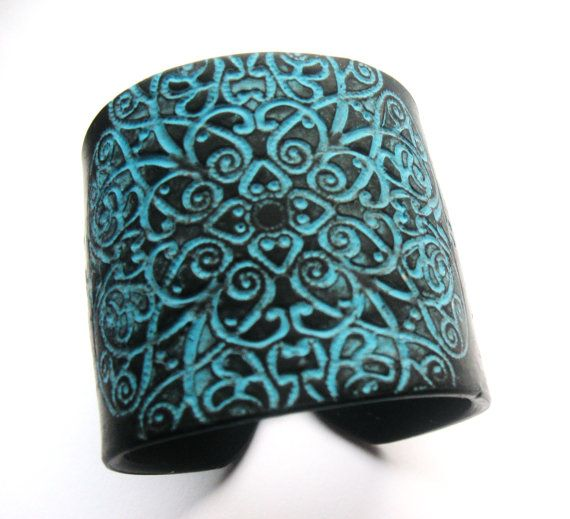 Black and Turquoise Cuff Bracelet, East Indian Design, Handmade Jewelry by theshagbag on Etsy via Etsy