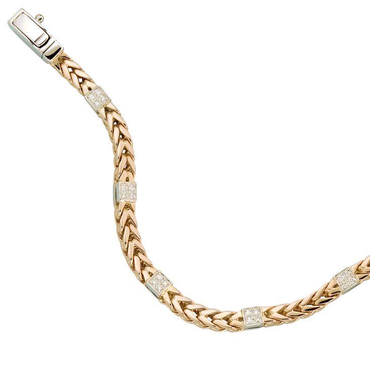 NEU 4,5 mm Diamanten Armband Rosegold 585 echt Gold 19 cm 14 Karat Armkette