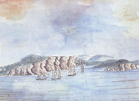 William Bradleys Entrance of Port Jackson 27 January 1788 records in watercolour the 11 ships of the Fleet entering Port Jackson after Botany Bay was found unsuitable.