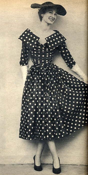 1950 Fashion - Lots of polka dots and wide brimmed hats, gloves, snug waistlines, cowl collars.