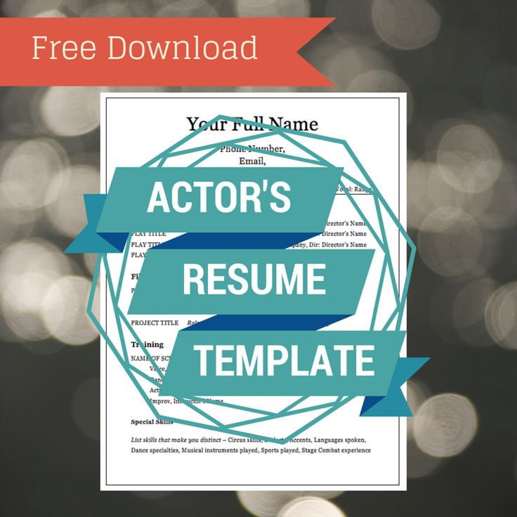 FREE Actor's Resume Template — With placeholder text, so all you have to do is replace with your own info! Click here to download.