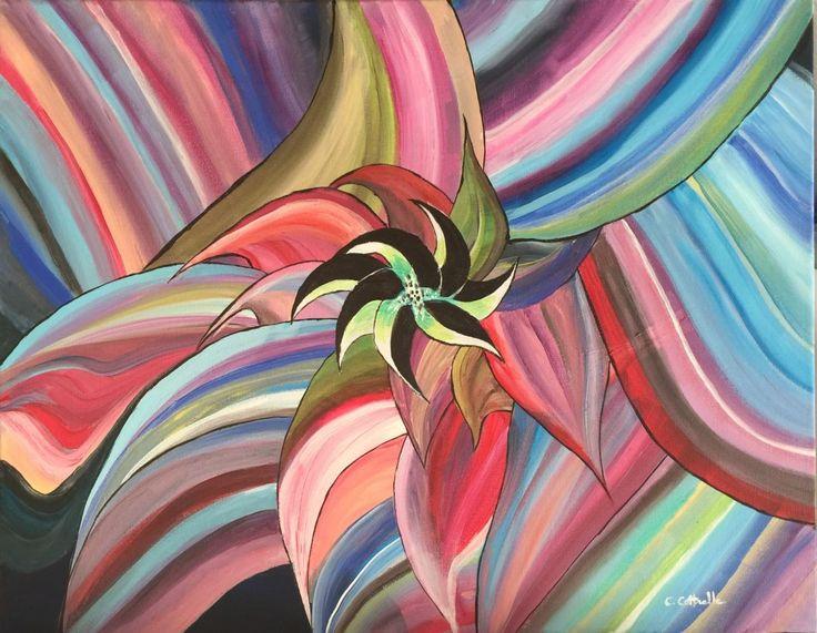 Peinture Mélange de couleurs (Peinture),  50x40 cm par Christelle Cottrelle Une vision originale et colorée... Peinture acrylique. Art abstrait. Tableau de 40x50.