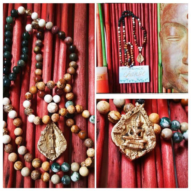 Friday Buddha Mala, Earthy Mala, Red Creek Jasper Mala, Moss Agate Mala, Picture Jasper Mala, 6mm bead Mala, Hand knotted 108 Mala, Buddha – Malas