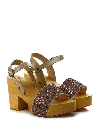 Antidoti - Sandalo alto - Donna - Sandalo alto in glitter e pelle con cinturino alla caviglia e suola in gomma. Tacco 95, platform 40 con battuta 55. - TAUPE\GLICINE - € 95.00