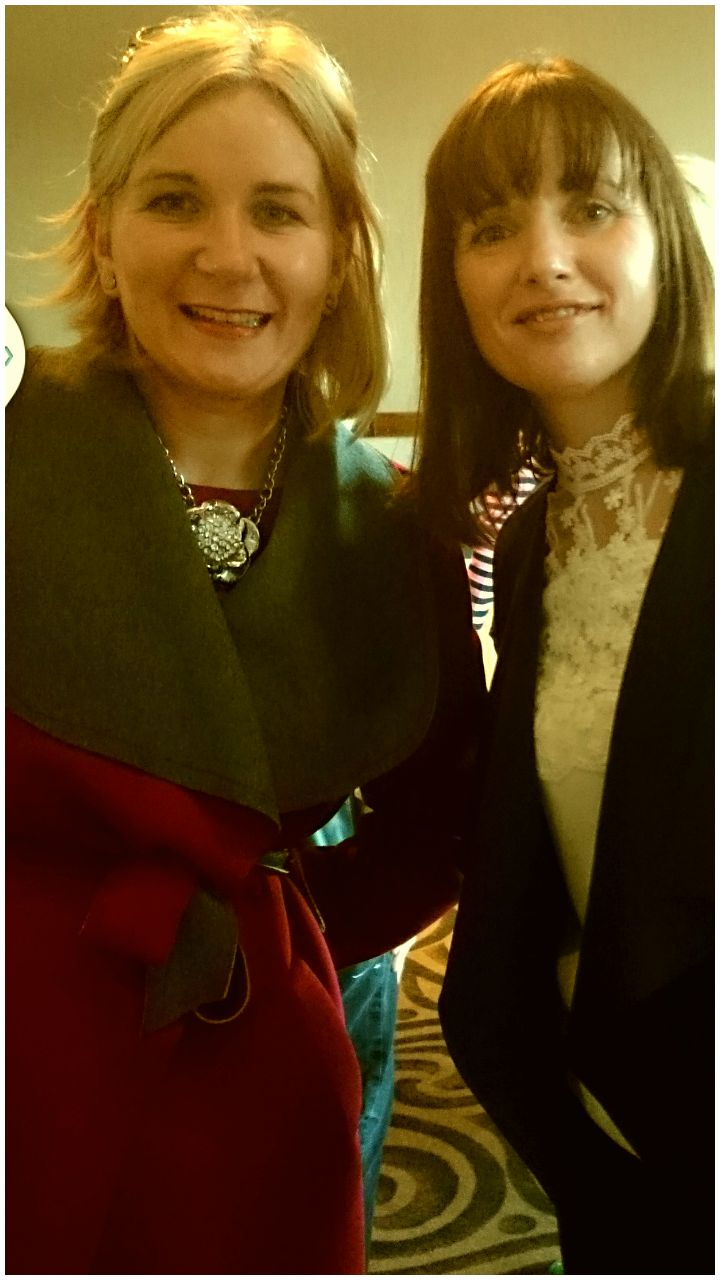 Clodagh McCann and Susan Jane McKenna at the launch of Book Hub Publishing's Author, Josh Earley in Athlone, Ireland November 2015.