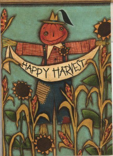 Thanksgiving Harvest Primitive Autumn Scarecrow Sunflower Crow Double Sided Garden  Flag 13 X 18 By Flag