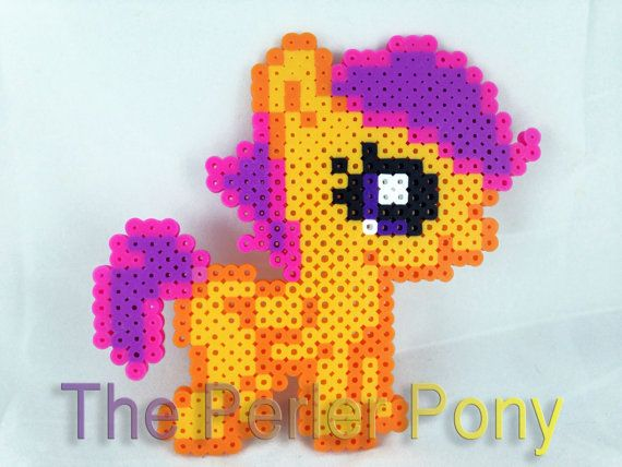 My Little Pony Silly Filly Perler Ponies: Scootaloo on Etsy, $7.00