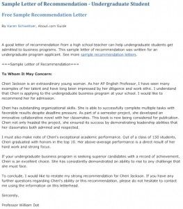 1.Sample letter of recommendation for undergraduate students