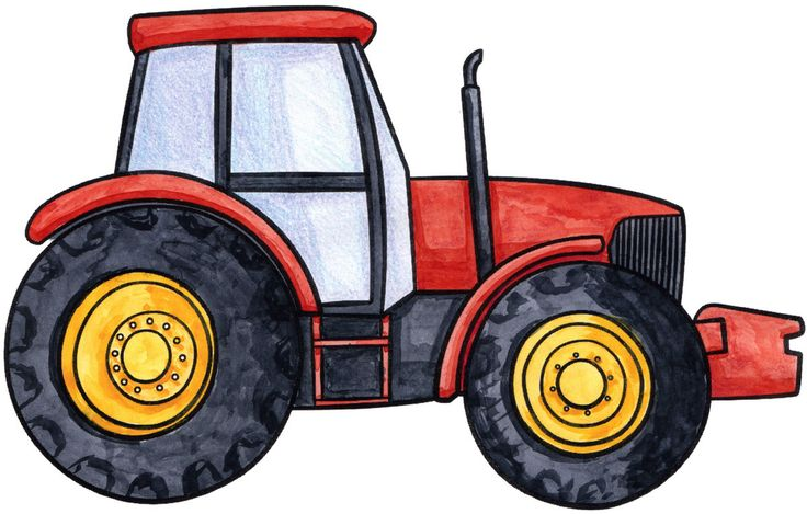 Simple Tractor Clip Art : How to draw a beautiful red tractor for
