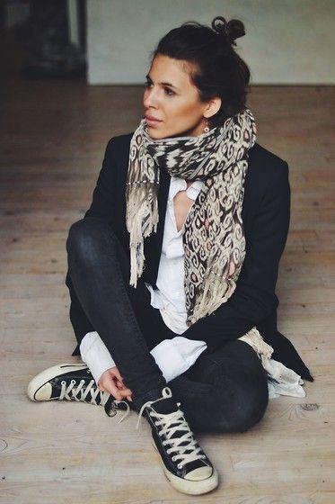 animal print scarf + black blazer + white button up + dark wash denim + black sneaker