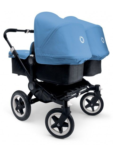 Kinderwagen für Zwillinge von Bugaboo Donkey Twin Zwillingskinderwagen Set Schwarz / ice blue. Mehr Infos auf https://www.kleinefabriek.com/.