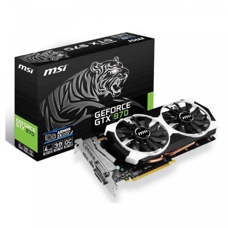 MSI nVidia GeForce GTX970 Armor: PCI-Express x16 3.0, GDDR5 4GB, 256-Bit, GPU: 1102MHz Core (Boost Clock:1241MHz) (OC Mode) / Mem:7010MHz, DVI x2, 1x DP, HDMI x1, DirectX 12 API, 4 x Displays, Dual Slot ATX, MSI Armor 2X Cooler, 3D Vision Ready, 3-Way NVIDIA SLI Support : Graphics Card - Graphics Cards - Video Card - Video Cards