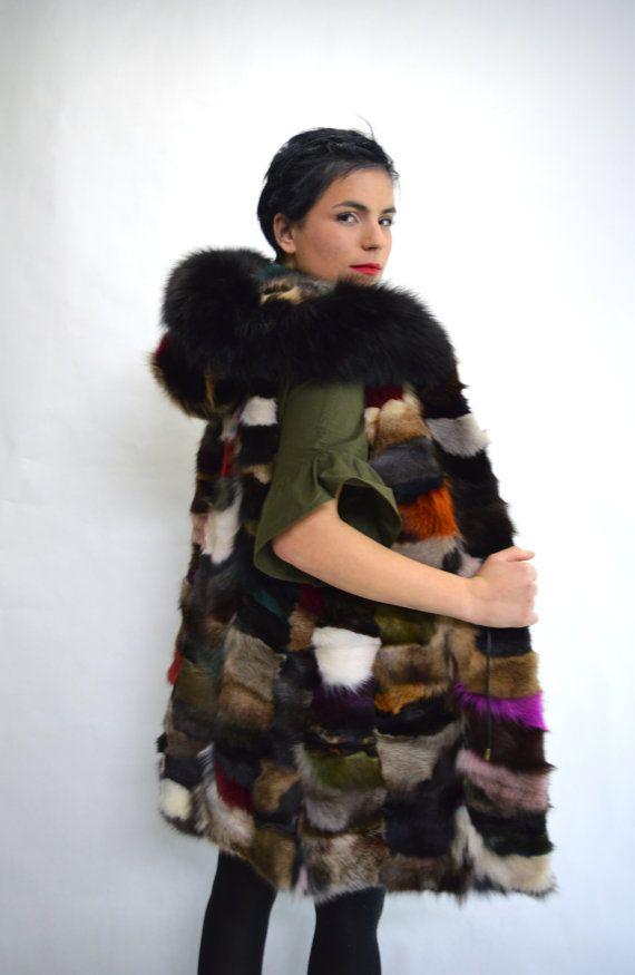 Real fur vest colourful fox fur vest genuine fox fur pelt by BeFur