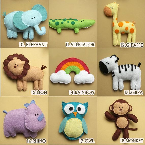 Felt Plush Toy or Ornaments - Girrafe, Elephant, Lion, Rhino, Tiger, Cow, Whale and more