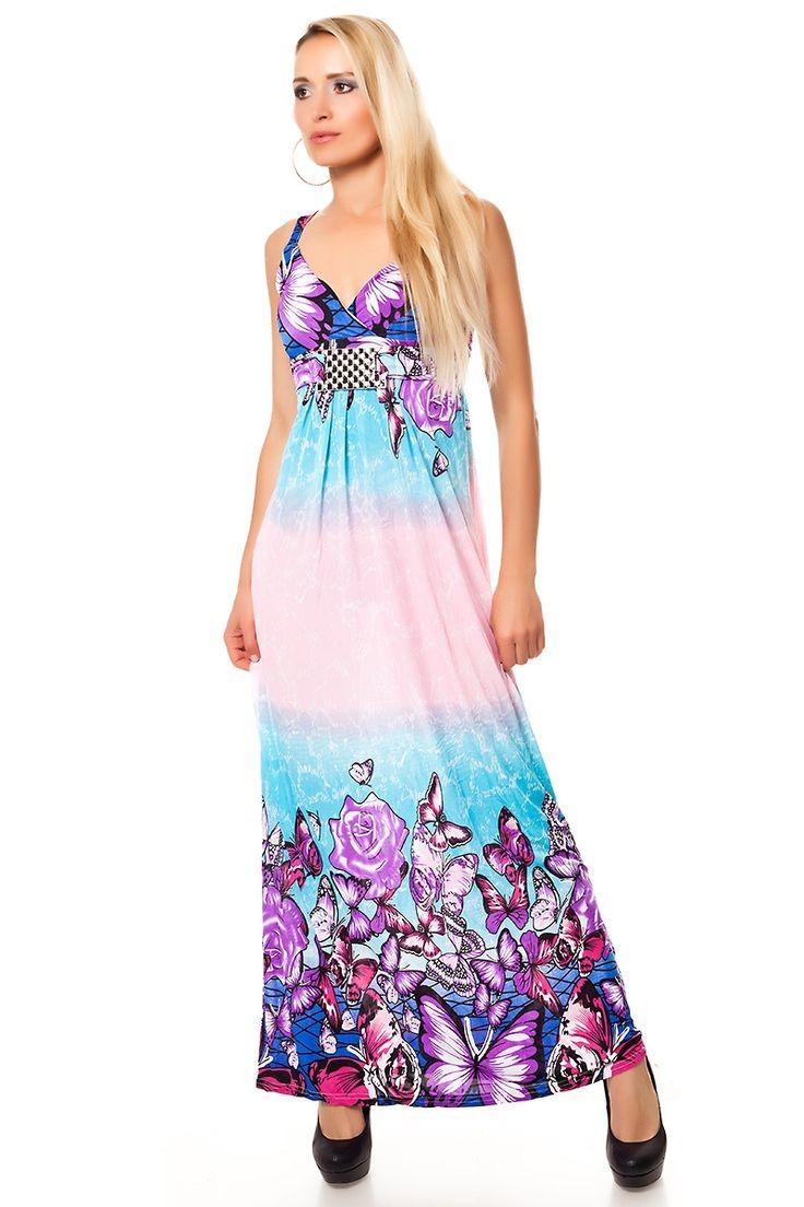 #Maxikleid bunt mit Blumenmuster und Schmuckspange Hellblau-Rosa