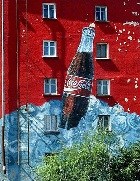 Coca-Cola ad on apartment block in Irkutsk, Siberia.