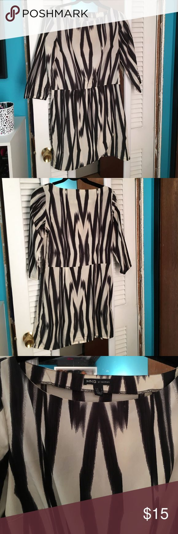 MNG by Mango 3/4 sleeve faux wrap dress. Small MNG by Mango Silk 3/4 wrap dress size small Mango Dresses Long Sleeve