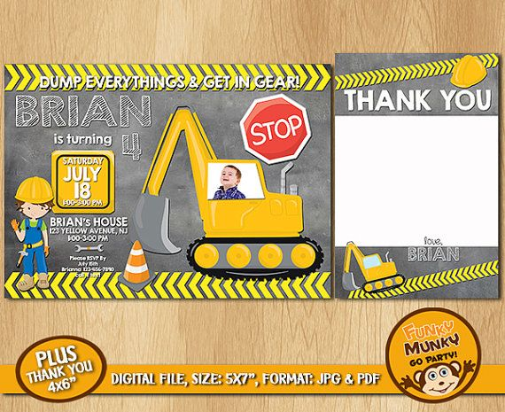 Construction Birthday Invitation Boys by funkymunkygoparty on Etsy
