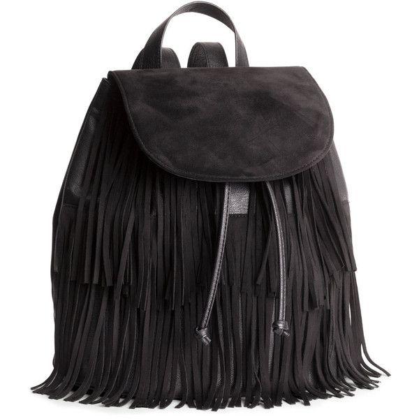 H&M Fringed backpack ($47) ❤ liked on Polyvore featuring bags, backpacks, backpack, accessories, bolsas, black, handle bag, drawstring bag, fringe backpack en black backpack