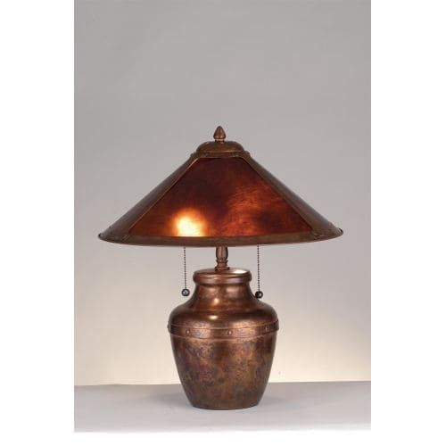 Meyda Tiffany 77774 Craftsman / Mission Accent Table Lamp from the Arts & Crafts Collection, Amber Mica And Washed Copper (Steel)