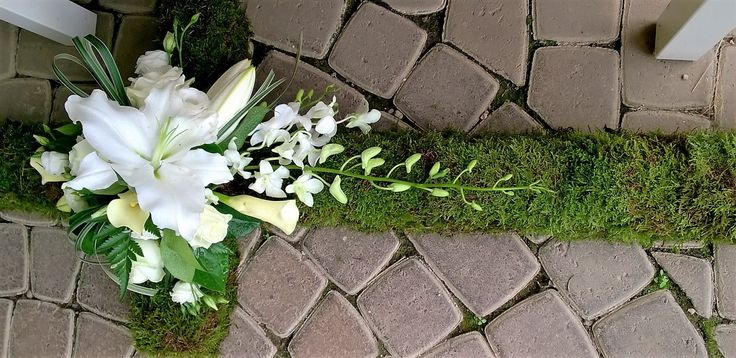 mossed lily funeral cross