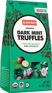 Dark Mint Truffles (10-Piece Bag)  OUR DEFINITION  SOCIALLY JUST  ENVIRONMENTALLY RESPONSIBLE  RELIABLY DELICIOUS  PUBLIC BENEFIT CORPORATION