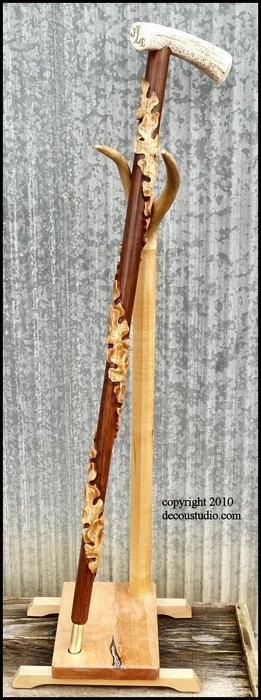 Custom Walking Cane: Oak Shaft, Carved Oak Leaves Twisting, Elk Antler Handle, Scrimshaw Monogram